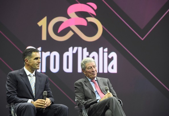(L-R) Former riders Miguel Indurain (L) and Felice Gimondi during Giro d`Italia 100th`s presentation at Ice Palace in Milan, 25 October 2016. ANSA/CLAUDIO PERI