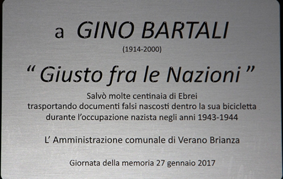 27.01.2017 - TARGA D'ONORE GIORNATA MEMORIA A GINO BARTALI (KIA)