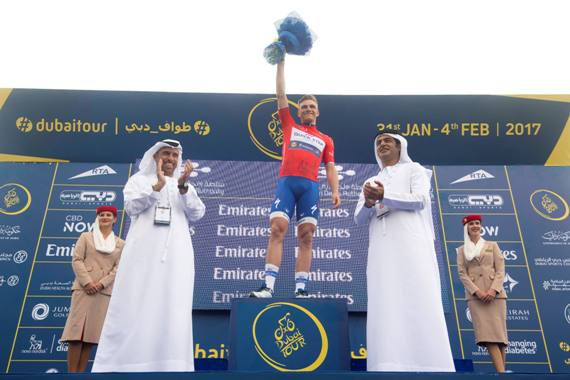 Marcel Kittel of Quick-Step Floors wears the Red Jersey on the podium of the Dubai Silicon Oasis stage, the Third stage of the Dubai Tour 2017, 200 km from Dubai International Marine Club to Al Aqah. Dubai, 2 February 2017. ANSA/CLAUDIO PERI