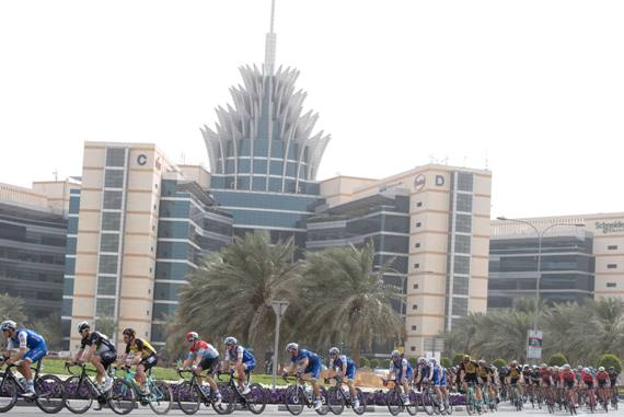 Peloton during the Dubai Silicon Oasis stage, the Third stage of the Dubai Tour 2017, 200 km from Dubai International Marine Club to Al Aqah. Dubai, 2 February 2017. ANSA/CLAUDIO PERI