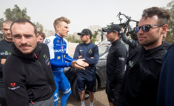 (L-R) John Degenkolb of Trek Segafredo, Marcel Kittel of Quick-Step Floors and Marcel Kittel of Quick-Step Floors   talk prior to the start of the Westin Stage, the Fourth stage of the Dubai Tour 2017. The stage was canceled for the wind. Dubai, 3 February 2017. ANSA/CLAUDIO PERI