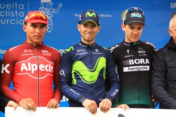 Da sinistra, Restrepo, Valverde e Konrad, podio 37° Vuelta a Murcia (Foto Jean Claude Faucher)