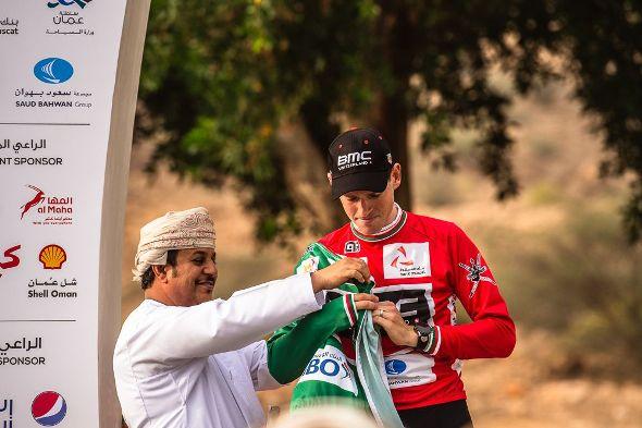 Tour of Oman 2017 - Stage 3 - Sultan Qaboos University / Quriyat - Ben HERMANS (BMC), Maillot rouge de leader du général et Maillot vert du classement par points a l'issu de l'étape