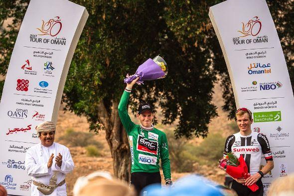 Tour of Oman 2017 - Stage 3 - Sultan Qaboos University / Quriyat - Ben HERMANS (BMC), Maillot vert du classement par points et Soren Kragh ANDERSEN (SUN), vainqueur de l'étape