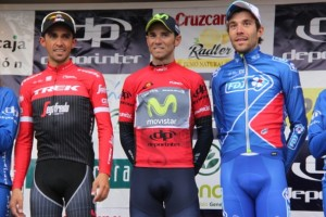 Podio finale Vuelta Andalusia da sx Contador, Valverde e Pinot (Foto Jean Claude Faucher)