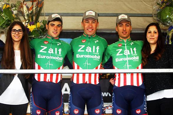 da sx, Calderaro, Bevilacqua e Bresciani, podio di Mareno di Piave
