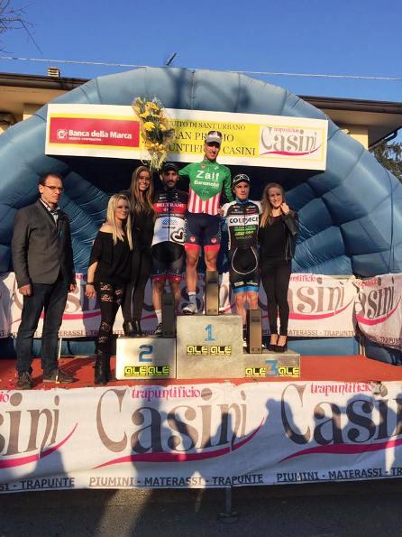 da sx, Gasparrini, Bresciani e Attilio Viviani, podio dell'85^ Circuito di Sant'Urbano