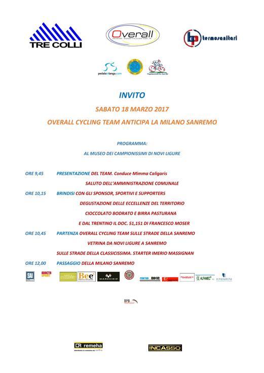 15.03.2017 - Invito presentazione squadra e passaggio Mi-Sanremo