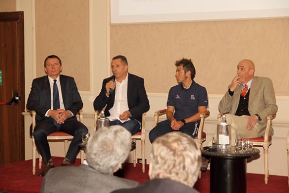 Da sx, Vassili Davidenki, Massimo Podenzana, Fabio Calabria e Maurizio Da Milano alla conferenza stampa (Foto Kia Castelli)