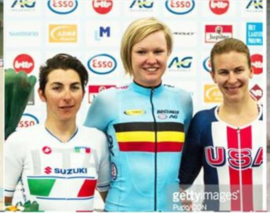 da sx, Giorgia Bronzini, Jolien D'Hoore, (Belgio) e Sarah Hammer (Usa)