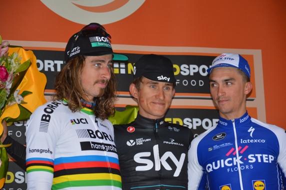 Da sx, Sagan, Kwiatowski e Alaphilippe, podio Sanremo 108 - (Foto Claudio Mollero)