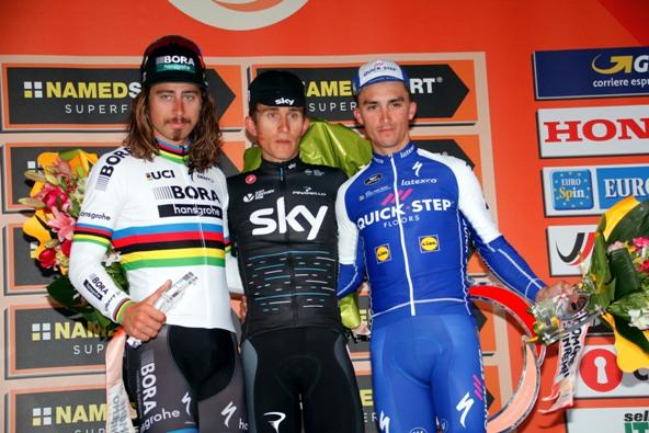 da sx, Sagan, Kwiatkowski e Alaphilippe, podio 108^ Sanremo (photobicicailotto)