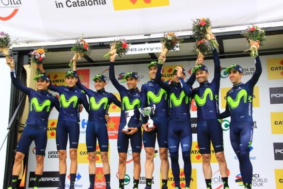 Squadra Movistar vincitrice cronosquadra al Catalunya (Foto Jean Claude Faucher)