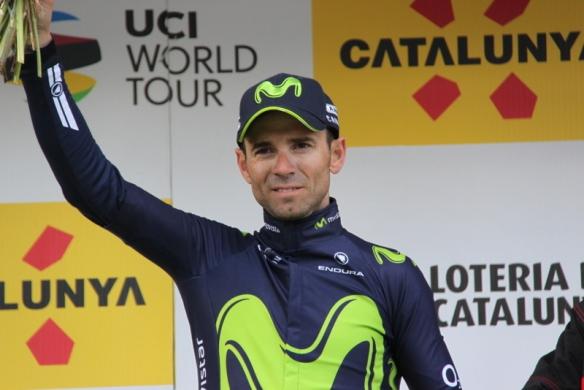 Valverde felice sul podio a La Molina (Foto Jean Claude Faucher)
