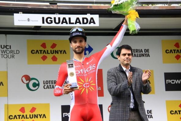 Bouhanni sul podio di Igualada (Foto Jean Claude Faucher)