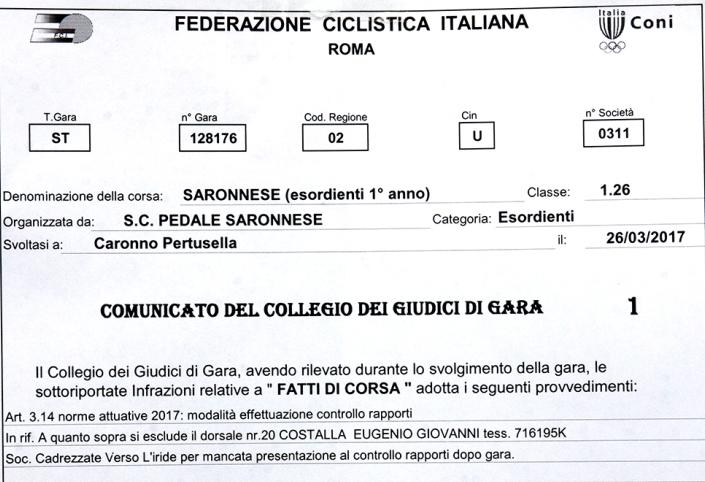 26.03.2017 - COMUNICATO COLLEGIO GIUDICI DI GARA