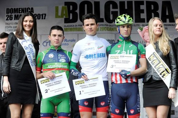 Da sx, Murgano, Lucca e Michele Battistella, Podio della 108 La Bolghera (Foto di Mosna Natascia G.)