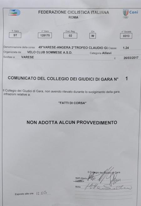 26.03.2017 - FATTI DI GARA VERBALE