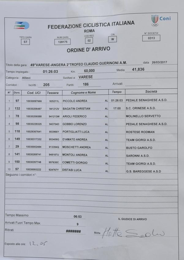 26.03.2017 - ORDINE ARRIVO