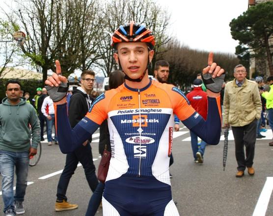Andrea Piccolo dopo l'arrivo (Foto Berry)