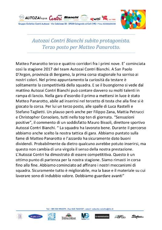 Comunicato Stampa Autozai Contri Bianchi. Matteo Panarotto terzo a San Paolo D'Argon
