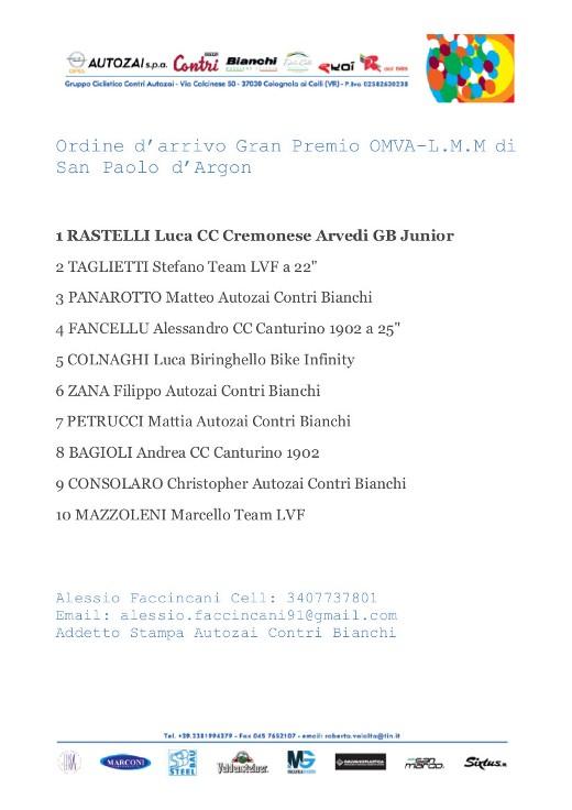 Comunicato Stampa Autozai Contri Bianchi. Matteo Panarotto terzo a San Paolo D'Argon1