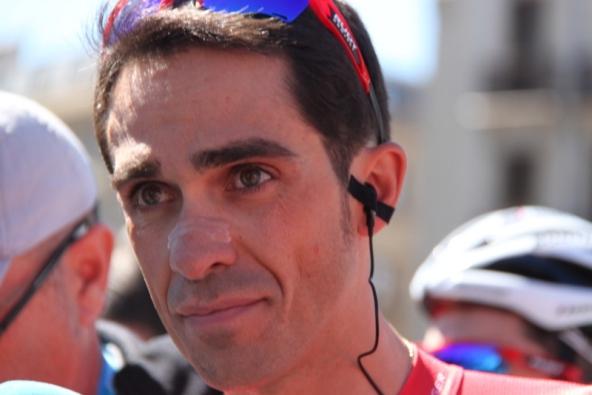 Alberto Contador oggi vittima di una caduta (Foto di Jean Claude Faucher)