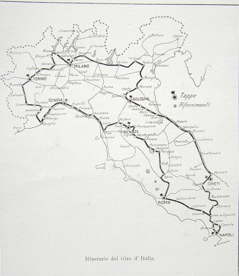 PERCORSO UFFICIALE DEL 1^ GIRO D'ITALIA 1909