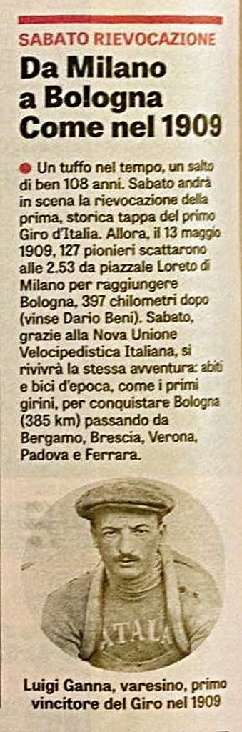 Da Milano a Bologna - 1^ tappa del 1^ Giro d'Italia