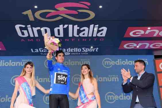 Giro d'Italia 2017 - 100a edizione -  Tappa 17 - da Tirano a Canazei (Val di Fassa) -  219 km ( 136 miglia )-Maglia Azzurra Landa Meana (Foto La Presse)