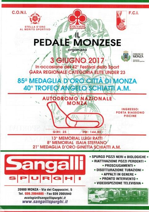 28.05.2017 - Locandina 85^ Medaglia d'Oro Citta^ di Monza