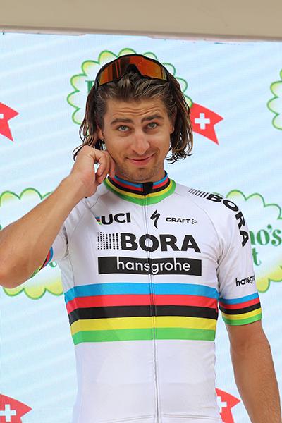 Sagan sul podio a Cevio (Foto Kia)