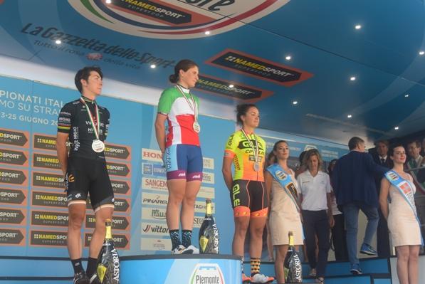 Bronzini, Longo Borghini e Paladin, Podio Tricolore Donne Elite (Foto Trovati)