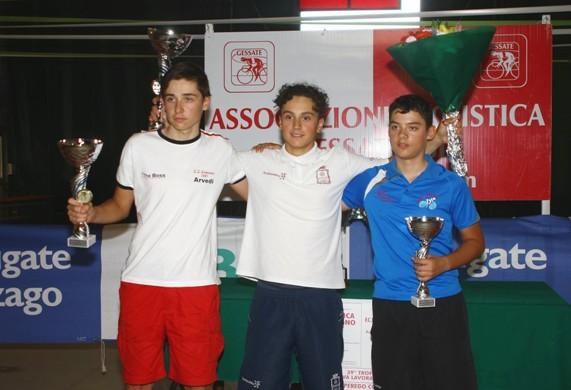 Da sx, Spotti, Ferrari e Bottaro, podio di Gessate (Foto Berry)