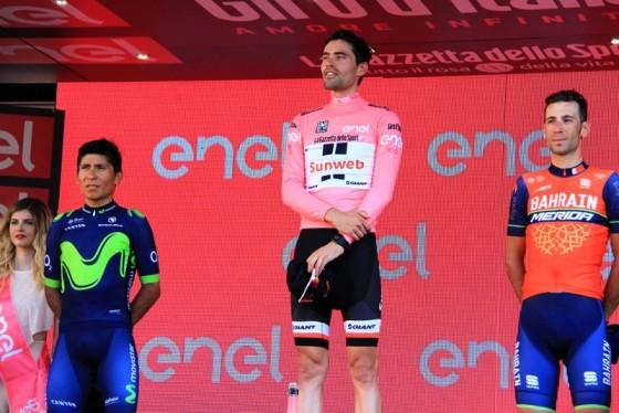 Da sx, Quintana, Dumoulin e Nibali, Podio del Giro100 (Foto di : Jean Claude Faucher)