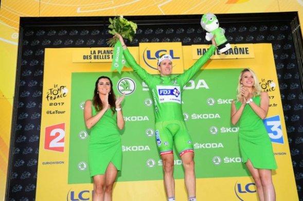 Arnaud Demare in maglia verde classifica a punti (Foto Aso)