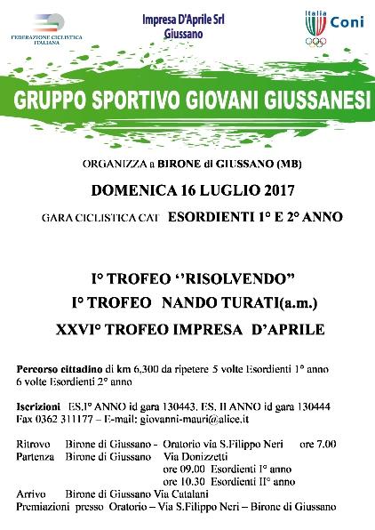 05.07.2017 - LOCANDINA -  1^ tROFEO rISOLVENDO, 1^ tROFEO nANDO tURATI, 26^ tROFEO iMPRESA d'aPRILE