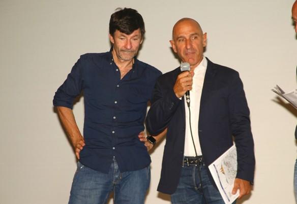 Intervento di Marco Saligari qui con Gianni Bugno (Foto Berry)