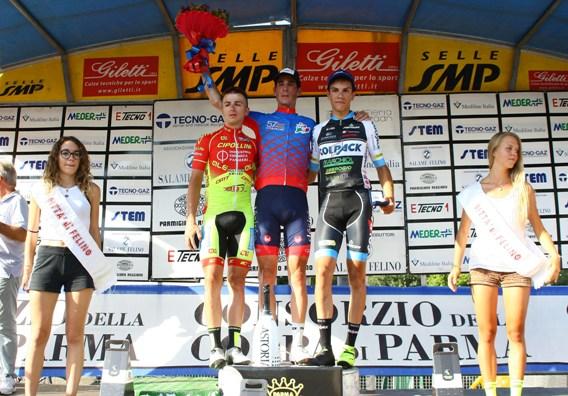Da sx, Romano, Zilio e Stefano Oldani, Podio del 57^ GP Citta^ di Felino (Berry)