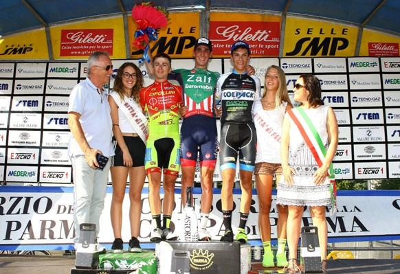 Da sx, Romano, Zilio ed Oldani, Podio del 57^ GP Citta^ di Felino (Berry)
