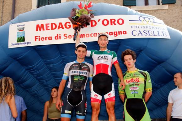 Da sx Sartor, Milani e Dainese, podio 65^ M.O. Fiera di Sommacampagna (Photobicicailotto)