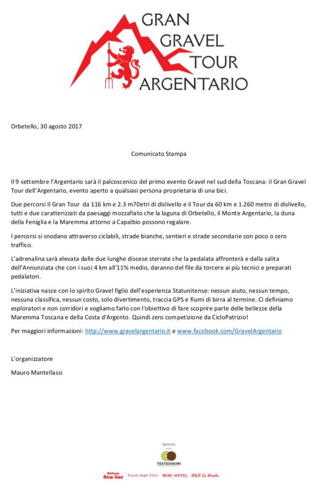 30.08.2017 - Comunicato Stampa - Gran Gravel Tour dell'Argentario