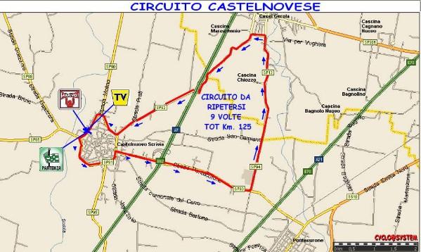 Percorso del 57^ Circuito Castelnovese (cyclo@system)
