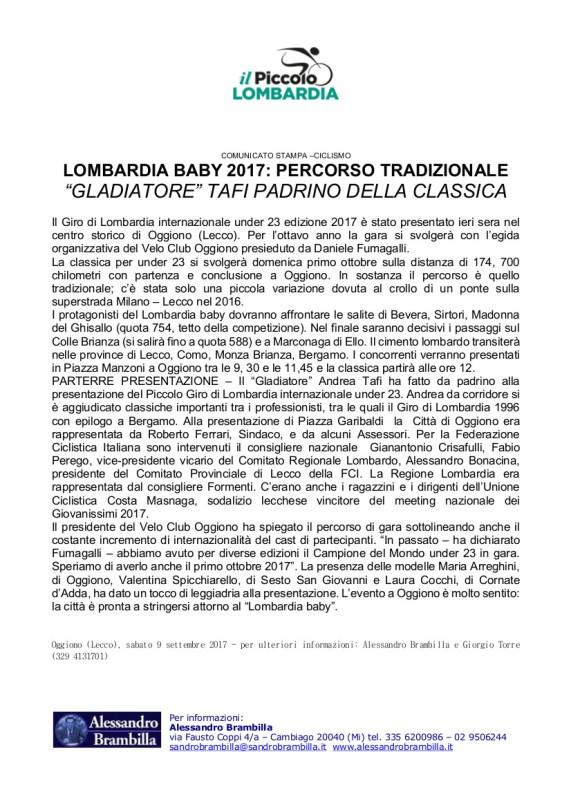 Comunicato stampa di Alessandro Brambilla