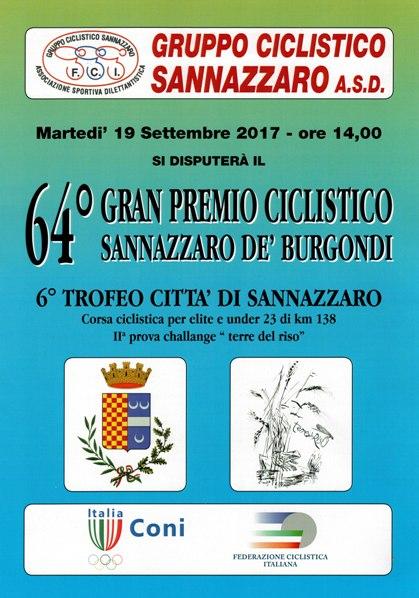 16.09.2017 - Locandina 64^ GP Ciclistico Sannazzaro de Burgondi