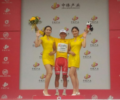 Kevin Rivera festeggia vincita Tour of China-2