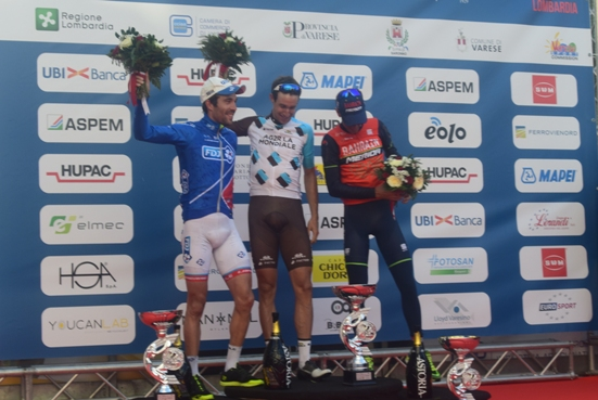 Da sinistra, Thibaut Pinot, Alexandre Geniez e Vincenzo Nibali, podio della 97^ Tre Valli Varesine (Foto Aldo Trovati)