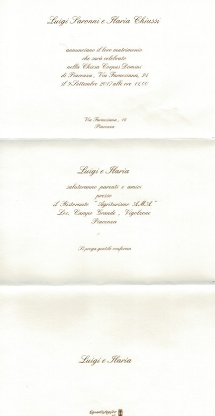 09.09.2017 - PARTECIPAZIONE MATRIMONIO LUIGI SARONNI
