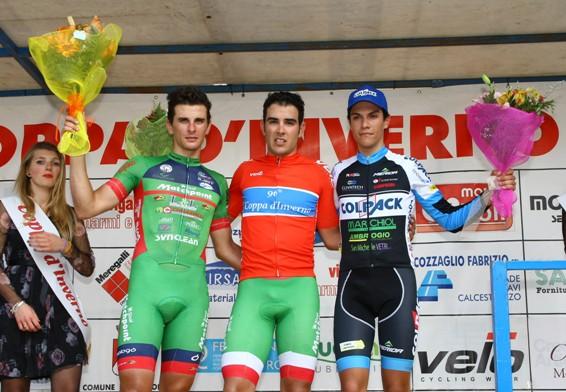 Da sinistra, Damiano Cima, Matteo Moschetti e Stefano Oldani. Podio della 96^ Coppa D'Inverno (Foto Berry)