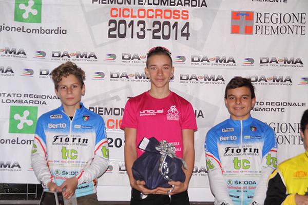 Da sinistra, Dante, Marcolli e Fiorin, Podio di giornata della categoria G6 a Borgosesia (Foto Kia)